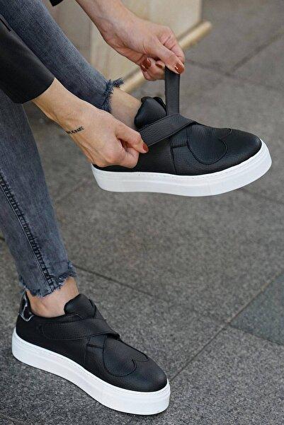 Mio Gusto Siyah Deri Kadın Sneaker