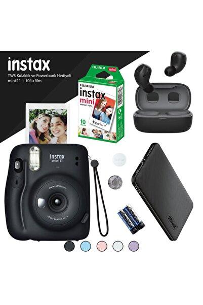 Fujifilm Instax Mini 11 Siyah Fotoğraf Makinesi - 10'lu Film Siyah Powerbank Ve Bluetooth Kulaklık