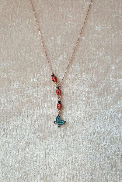 Papatya Silver 925 Ayar Gümüş Akışlı Uğur Böceği Mavi Kelebek Kadın Kolye