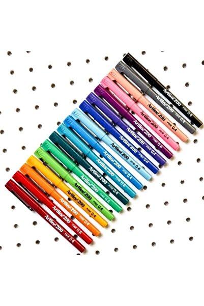 artline 200 Fineliner 0.4 mm İnce Uçlu Yazı ve Çizim Kalemi 10 Renk