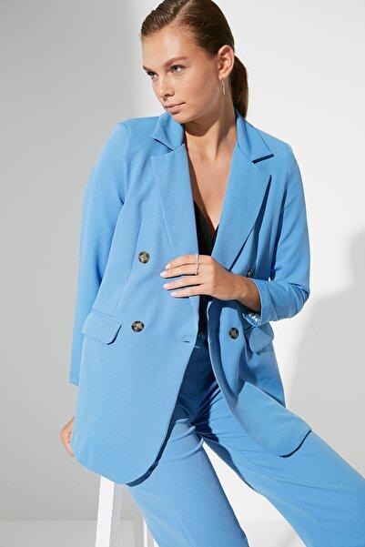 TRENDYOLMİLLA Mavi Düğmeli Blazer  Ceket TWOAW22CE0192