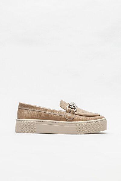 Elle Shoes Naturel Deri Kadın Loafer