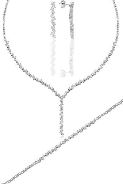 Söğütlü Silver Gümüş Beyaz Altın Rodyumlu Pırlanta Modeli Zirkon Taşlı Sallantılı Su Yolu Gümüş Takım.