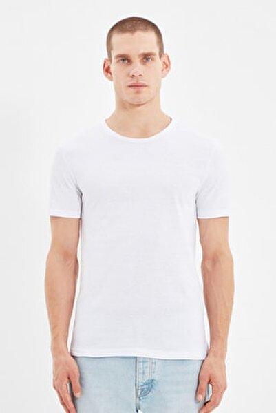 Beyaz Erkek Basic Pamuklu Kısa Kollu Bisiklet Yaka  Slim Fit T-Shirt - TMNSS19BO0001