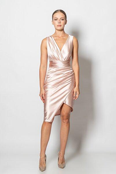 RENGIN Pileli Kruvaze Örme Saten Elbise