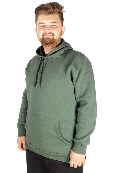 ModeXL Erkek Sweatshirt Kapşonlu Pocket Basic 20562 Nefti