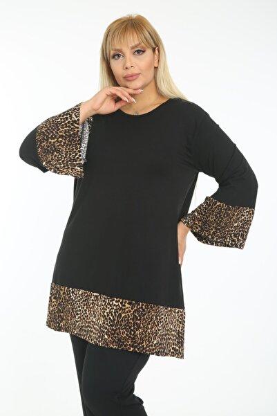 HERAXL Kadın Siyah Leopar Desenli Asimetrik Kesim Tunik