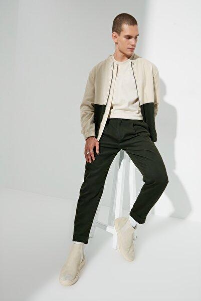 TRENDYOL MAN Haki Erkek Essential Fit Kemer Belli Duble Paça Pileli Pantolon TMNAW22PL0380