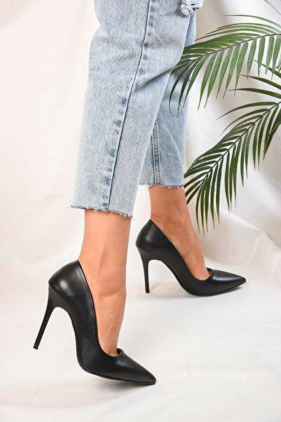 Sıraç Ayakkabı Siyah Stiletto Ince Topuklu Ayakkabı
