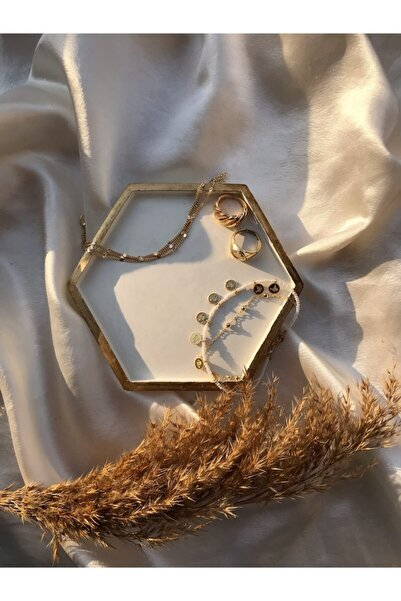 SYM Gold Detaylı Altıgen Takı Tabağı