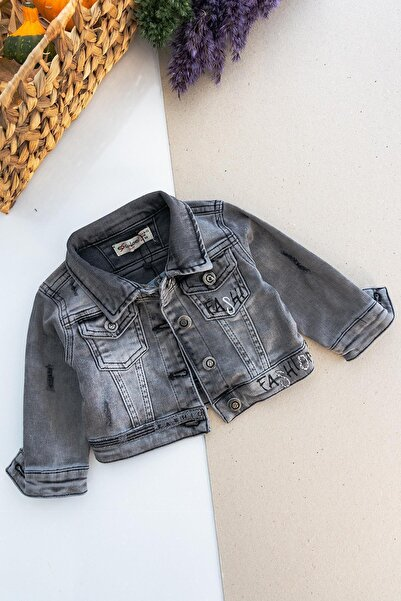 Babymod Fashion Taş Işlemeli Eskitme Kız Bebek Kot Ceket