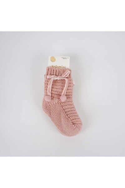 Katamino Makaron Örgülü Aksesuarlı Kız Bebek Soket Çorap