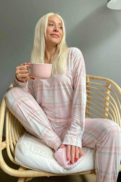 Pijamaevi Pembe Ekose Baskılı Uzun Kol Kadın Pijama Takımı