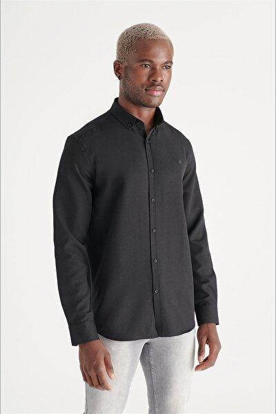 Avva Erkek Siyah Oxford Düğmeli Yaka Regular Fit Gömlek E002000