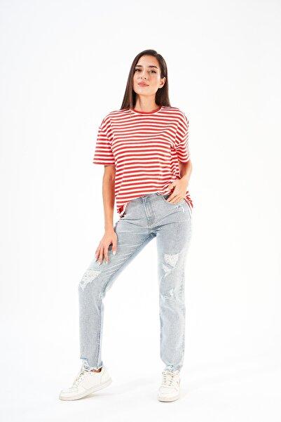 FINGER PRINT Basıc Oversize Çizili Kadın T-shirt
