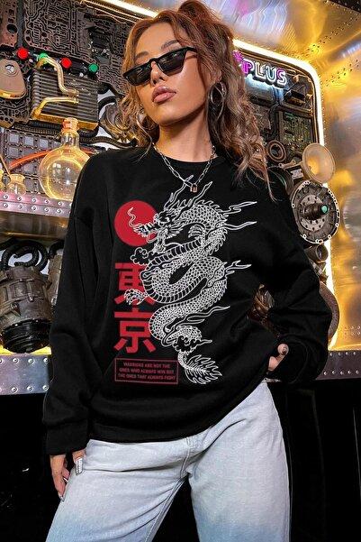 Millionaire Kadın Siyah Warrior Oversize Sweatshirt