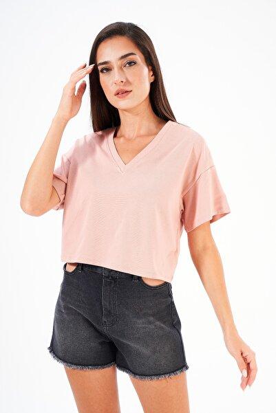 FINGER PRINT V Yaka Crop Kadın T-shirt