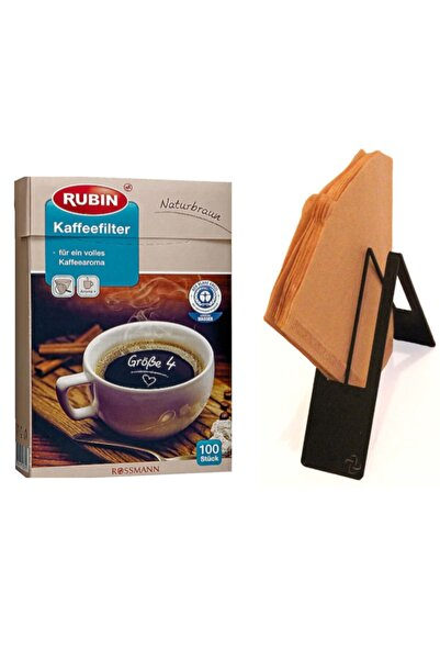 Rubin Kahve Filtresi No:4 Doğal Kahverengi Renkli 100 Adet Filtre Ve Filtre Kahve Kağıdı Tutucu Stand