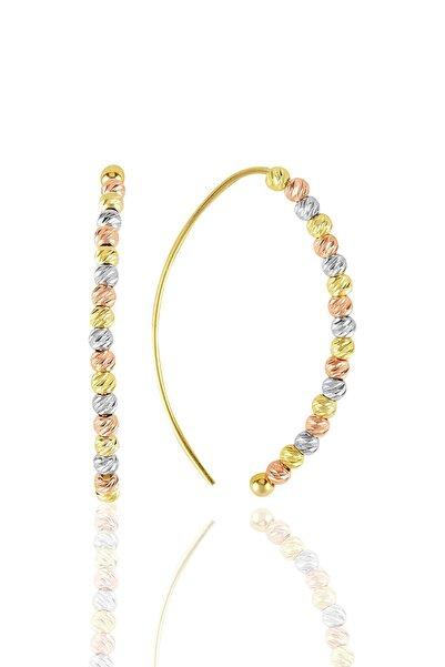 Söğütlü Silver Gümüş Altın Yaldızlı, Rodaj Ve Rose Renkli Dorissa Dorica Tasarım Küpe