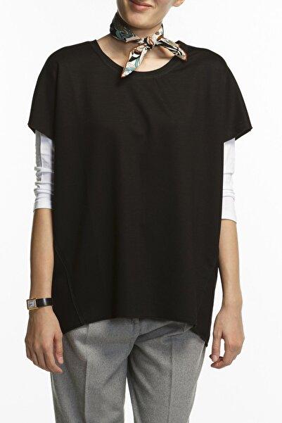 BASIC&CO Coco Siyah Oversized Kısa Kol Viskon Bluz