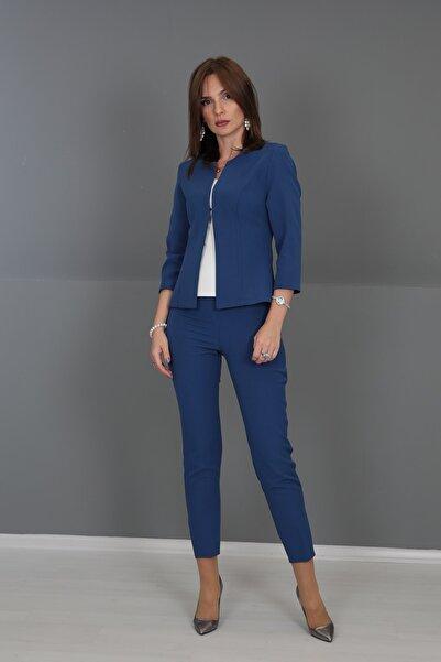 ÖNDER ÖZSOY Oval Yaka Kısa Ceket & Boru Paça Pantolon Takım-indigo