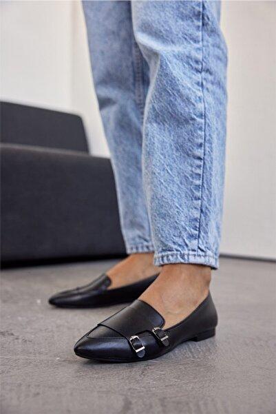 Cömert Ayakkabı Yana Kadın Babet Siyah Deri
