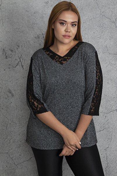 Şans Kadın Gümüş Dantel Detaylı Sim Bluz 65N27840