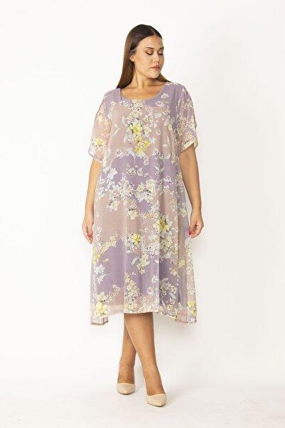 Şans Kadın Lila Astarlı Yırtmaç Kollu Şifon Elbise 65N28127