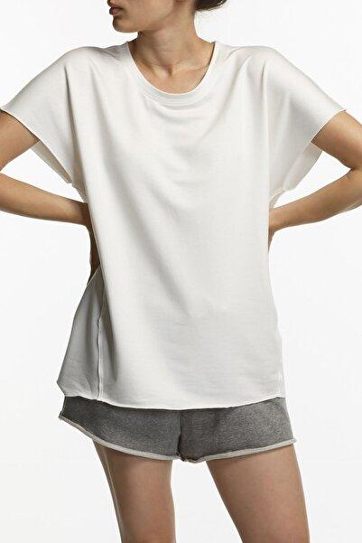 BASIC&CO Coco Ekru Oversized Kısa Kol Viskon Bluz
