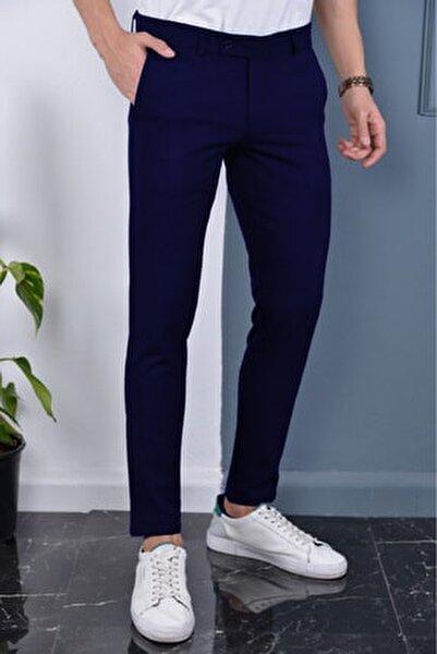 Erkek Lacivert Renk Italyan Kesim Kaliteli Kumaş Pantolon