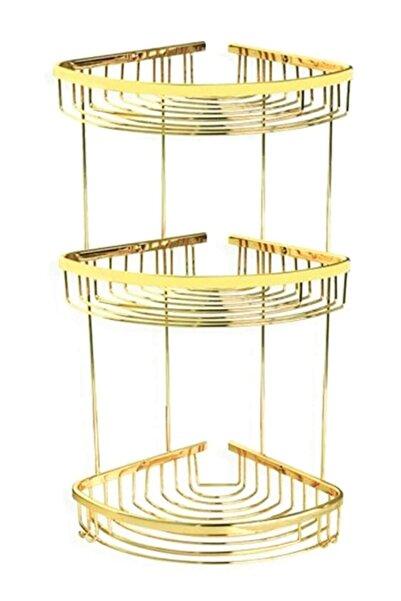 LarinHome 3'lü Gold Banyo Köşe Tel Pirinç