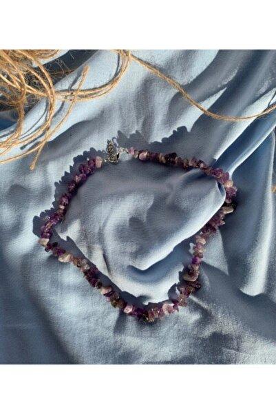 Dibati Accessories Kadın Kırık Doğaltaş Ametist Kolye