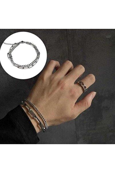 Lealta Vita Gümüş Kaplama Unisex 2'li Zincir Bileklik Kararmaz Paslanmaz Bileklik