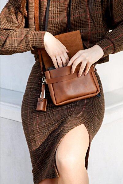 saraci leather craft %100 Hakiki Deri Messenger Kadın Çantası