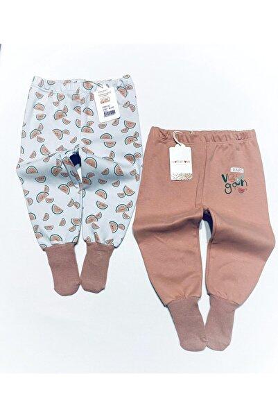 Mother Love % 100 Organik Pamuk 2 Li Çoraplı Pantolon Pijama 0-3 Yaş