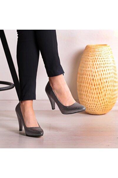 pabucmarketi Platin Çatlak Bayan Stiletto Ayakkabı