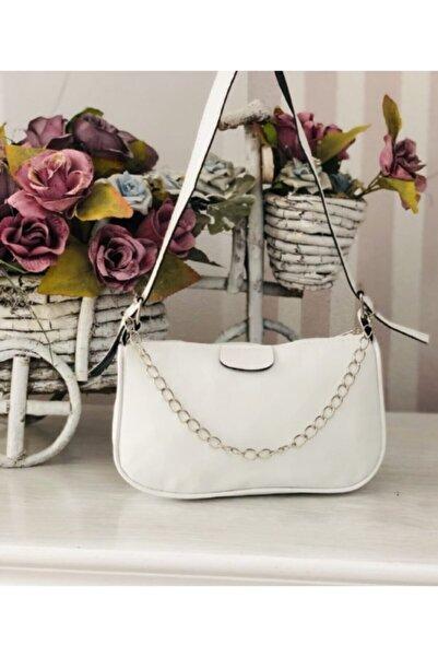 çantamsende Kadın Beyaz Ince Zincirli Baget Çanta