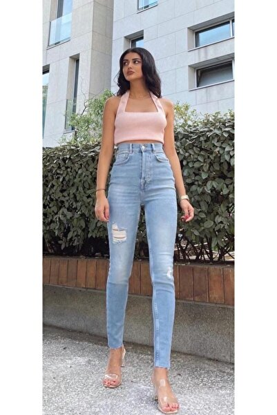 The Ness Collection Ekstra Yüksek Bel Likralı Skinny Jean