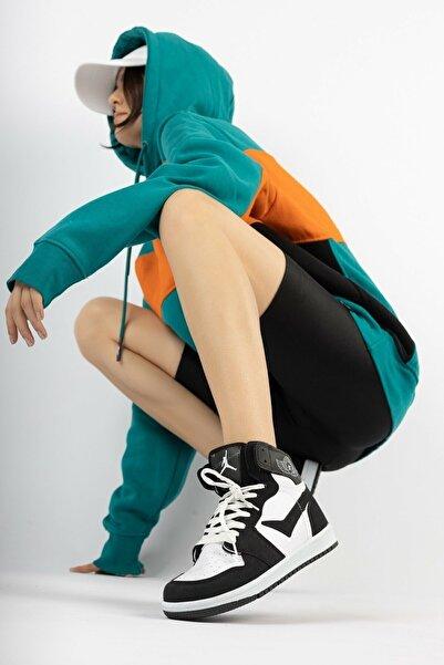 ESRA SHOES Kadın Siyah Beyaz Uzun Bilekli Spor Ayakkabı