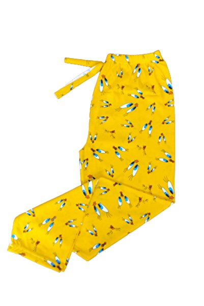 BERA TEKSTİL Desenli Sarı Kadın Penye Pijama