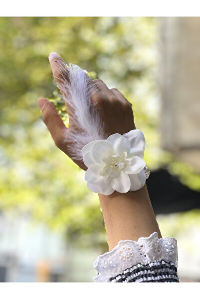 Huzur Party Store Bride To Be 10 Adet Nedime Gelin Bilekliği Tüy Ve Inci Detaylı Beyaz Renkli Bekarlığa Veda Partisi