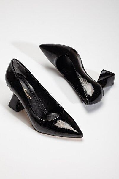 Juseshoes , Özel Üretim, Tarz Topuk, Siyah Lüks Kırışık Rugan Stiletto, Kadın