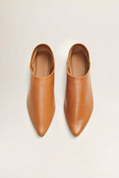 Mango Orta Kahverengi Ucu Sivri Deri Ayakkabı