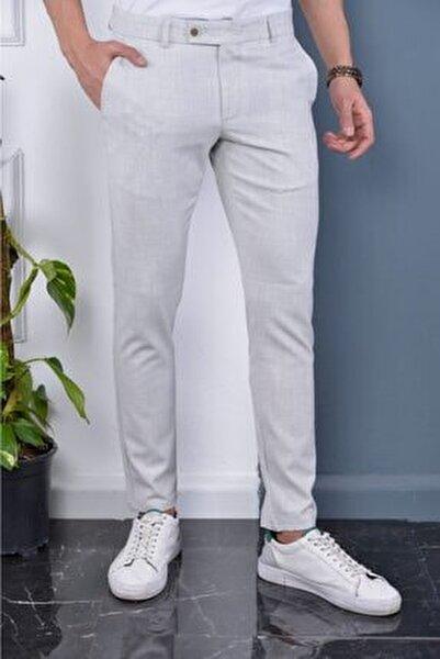Erkek Taş Rengi Italyan Kesim Slimfit Kumaş Pantolon