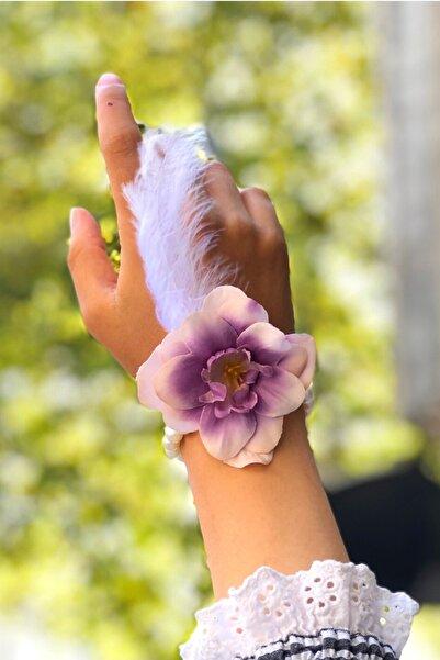Huzur Party Store Bride To Be 10 Adet Nedime Gelin Bilekliği Tüy Inci Detaylı Geçişli Mor Renk Bekarlığa Veda Partisi