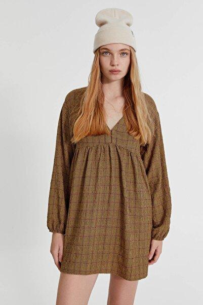 Pull & Bear Desenli Dökümlü Mini Elbise