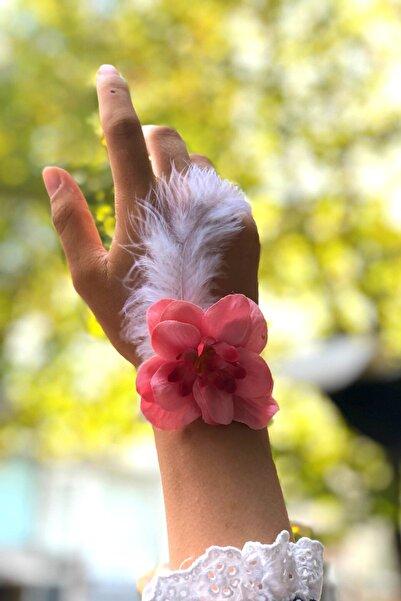 Huzur Party Store Bride To Be 10 Adet Nedime Gelin Bilekliği Tüy Ve Inci Detaylı Nar Çiçeği Bekarlığa Veda Partisi