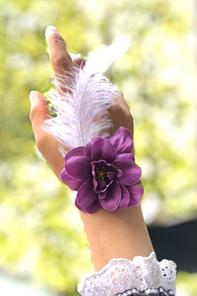 Huzur Party Store Bride To Be 10 Adet Nedime Gelin Bilekliği Tüy Inci Detaylı Mor Renk Renkli Bekarlığa Veda Partisi