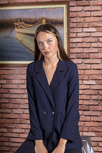 STAMINA Kadın Premium Çizgili Önü Düğmeli Ceket