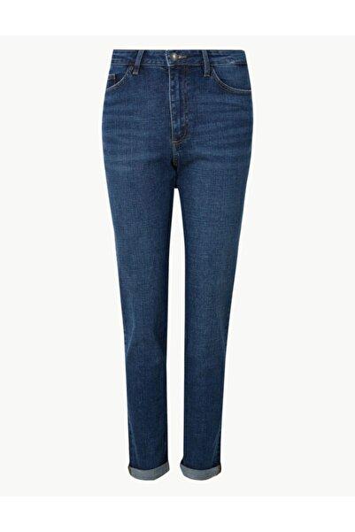 Marks & Spencer Kadın Mavi Relaxed Slim Orta Belli Jean Pantolon T57008675C
